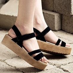 MIAOLV - Genuine Suede Platform Sandals