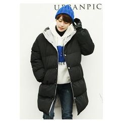 HOTBOOM - Hooded Snap-Button Puffer Coat