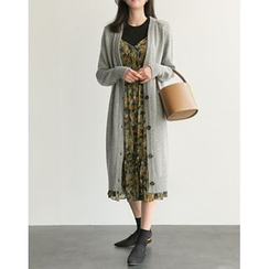 UPTOWNHOLIC - V-Neck Wool Blend Long Cardigan