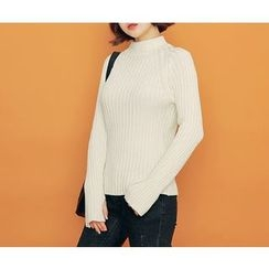 HOTPING - Mock-Neck Ribbed Knit Top