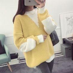 efolin - 雙色調粗織毛衣