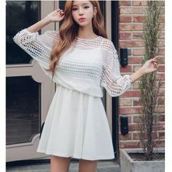 Dowisi - Set: Perforated 3/4 Sleeve Top + Spaghetti Strap Dress