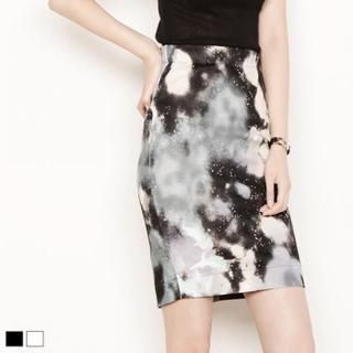 MAGJAY - Patterned Band-Waist Pencil Skirt