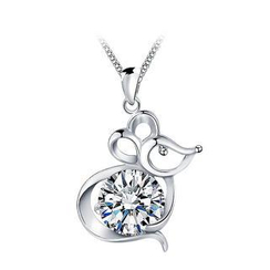 BELEC - 925 Sterling Silver Chinese Zodiac-Rat Pendant with White Cubic Zircon and Necklace
