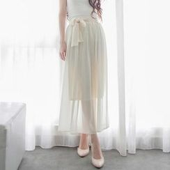 Tokyo Fashion - Tie-Waist Layered Chiffon Maxi Skirt