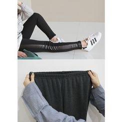 J-ANN - Faux-Leather Trim Leggings