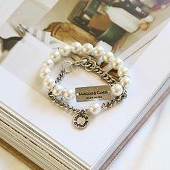NANING9 - Set Of 2: Faux-Pearl Bracelet
