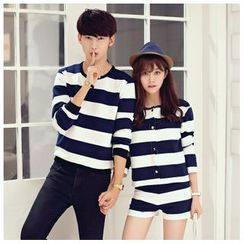 Azure - Women 3/4-Sleeve Jacket + Striped Shorts Set / Men Striped Matching Couple Pullover