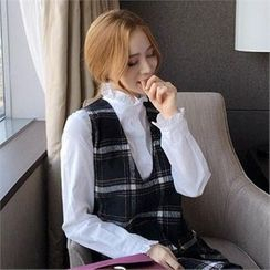 QNIGIRLS - Frill-Neck Blouse