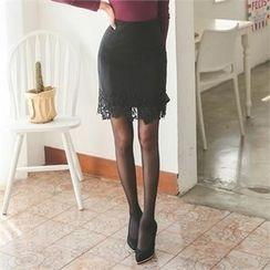 ode' - Lace-Hem Pencil Skirt