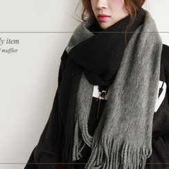 NIPONJJUYA - Two-Tone Fringed Long Knit Scarf