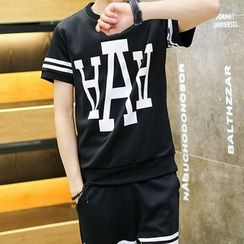 丹傑仕 - 套裝: 字母T恤 + 運動短褲