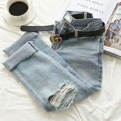 NANING9 - Distressed Boyfriend Jeans