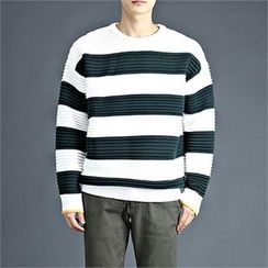 THE COVER - Round-Neck Striped T-Shirt
