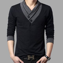 JIBOVILLE - Long-Sleeve Wrap Collar T-Shirt