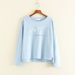 Mushi - Letter Embroidered Long Sleeve T-Shirt