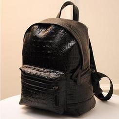 QeQ - Faux-Leather Croc-Grain Backpack