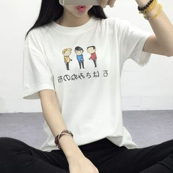 Ukiyo - Cartoon Print Crewneck T-Shirt