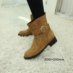 Dodostyle - Faux Fur-Lined Buckled Ankle-Boots