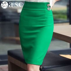 Aision - Buttoned Pencil-Cut Skirt