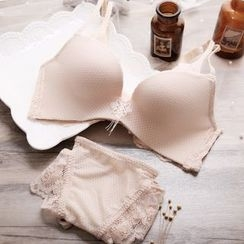 HYG Lingerie - Set: Lace Panel Wireless Bra + Panties