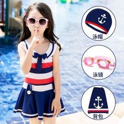 Mermaid's Tale - Kids Set: Sailor Swimdress + Swim Cap + Goggle