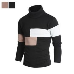 DANGOON - Turtle-Neck Color-Block Brushed-Fleece Lined Top