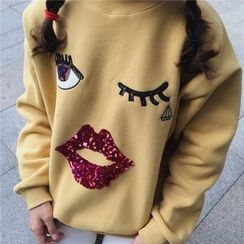 Eva Fashion - Sequined Embroidered Sweatshirt