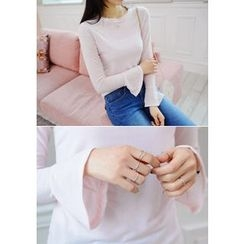 DEEPNY - Frill-Sleeve Long-Sleeve T-Shirt
