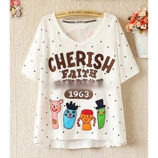 Munai - Short-Sleeve Appliqué Letter Dotted T-Shirt