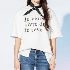 Heynew - 字母中袖T恤