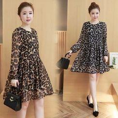 VIZZI - Leopard Print A-Line Chiffon Dress