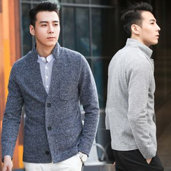 DANGOON - Stand-Collar Buttoned Mélange Cardigan