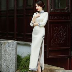 Miss Four Qipao - 3/4-Sleeve Plain Cheongsam