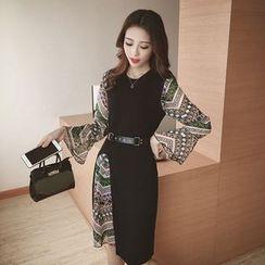 Eva Fashion - Set: Patterned Long Sleeve Chiffon Dress + Side Slit Tank Dress