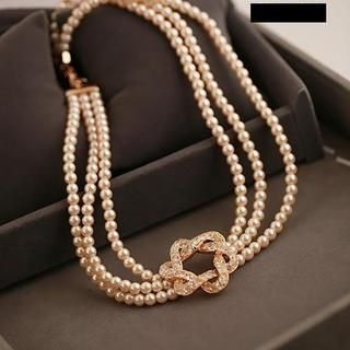 Love Generation - Faux-Pearl Rhinestone Layered Necklace