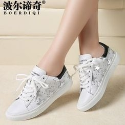 T. Bling - Genuine-Leather Star-Accent Sneakers