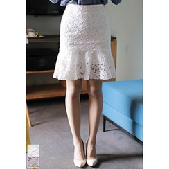 MyFiona - Ruffle-Hem Lace Mini Skirt