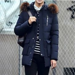 Bay Go Mall - Faux Fur Trim Down Coat