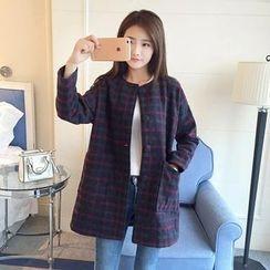 Aigan - 格子饰扣外套