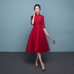 P-BRIDE - Chinese Elbow-Sleeve Mini Prom Dress