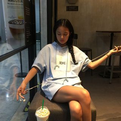 MATO - Letter Short-Sleeve Hoodie Dress