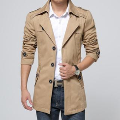 Alvicio - Buttoned Hooded Trench Coat