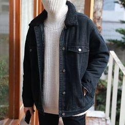 MPstudios - Fleece-Collar Padded Buttoned Denim Jacket