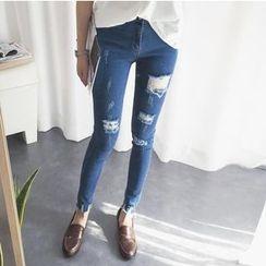 Windflower - Distressed Skinny Jeans