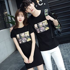 Azure - Couple Matching Print Short-Sleeve T-shirt / T-shirt Dress