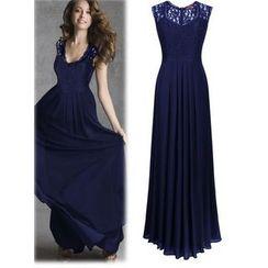 HOTCAKE - Lace Panel Sleeveless Maxi Dress