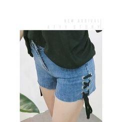 ATTYSTORY - Strap-Detail Denim Shorts