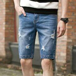 Keerme - 做旧牛仔短裤