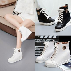 Shoes Galore - Hidden Wedge Lace-Up Sneakers